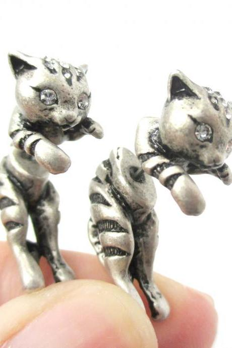 Unique Fake Gauge 3D Kitty Cat Animal Shaped Stud Earrings in Silver
