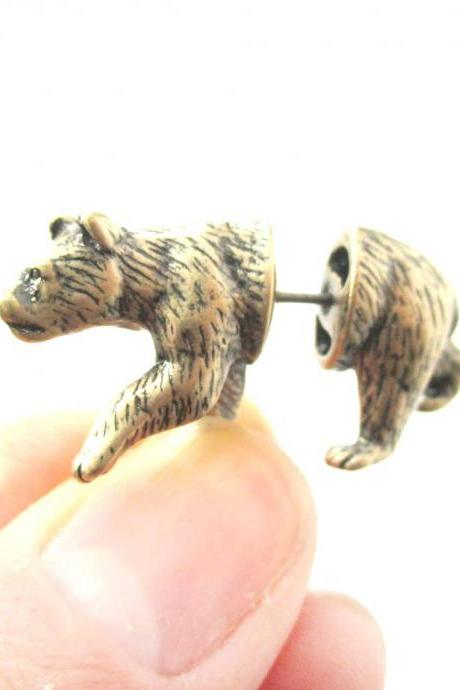 Unique Fake Gauge Realistic 3D Bear Animal Stud Earrings in Brass