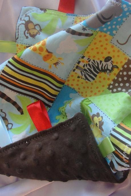 Jungle lovey minky security blanket baby cotton fabric