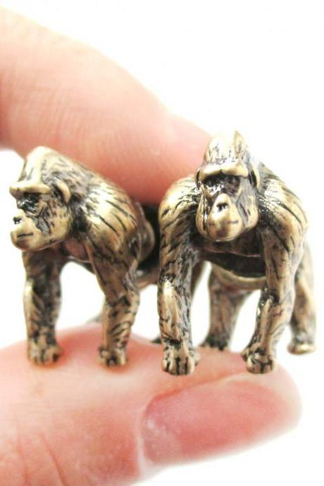 Unique Fake Gauge Realistic 3D Gorilla Animal Stud Earrings in Brass