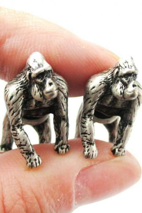 Unique Fake Gauge Realistic 3D Gorilla Animal Stud Earrings in Silver
