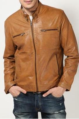 MEN LEATHER JACKETS, TAN COLOR LEATHER JACKET MEN'S
