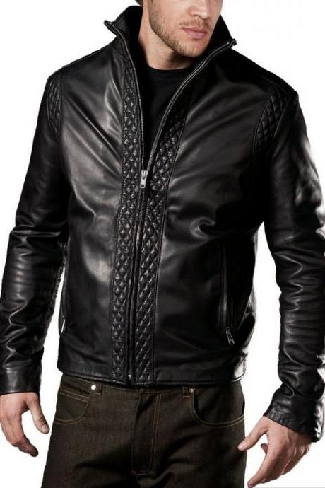 Men's quilted biker leather jacket, Real leather jackets mens