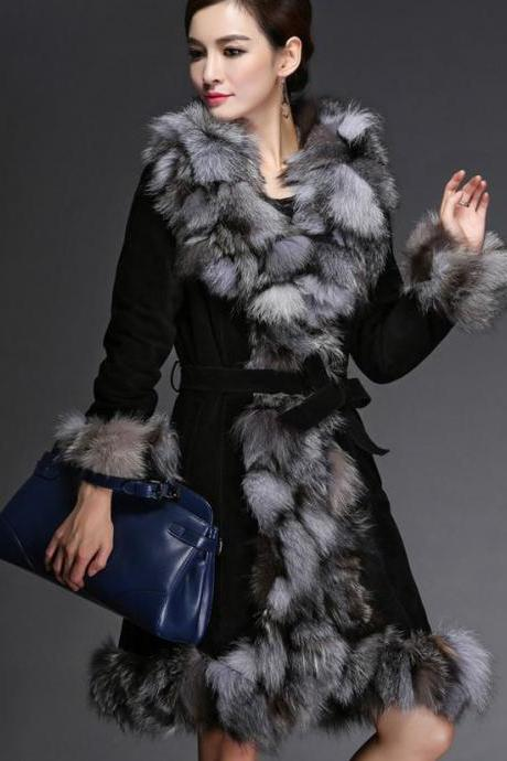 Black Coat Genuine Fox Fur Pig Leather Pink Coat Jacket -Fox Fur Winter Coat-Genuine Fur Winter Coat for Women