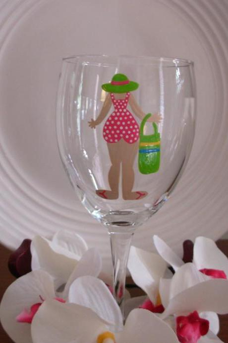 Bathing Beauty Wine Glass Handpainted Personalized