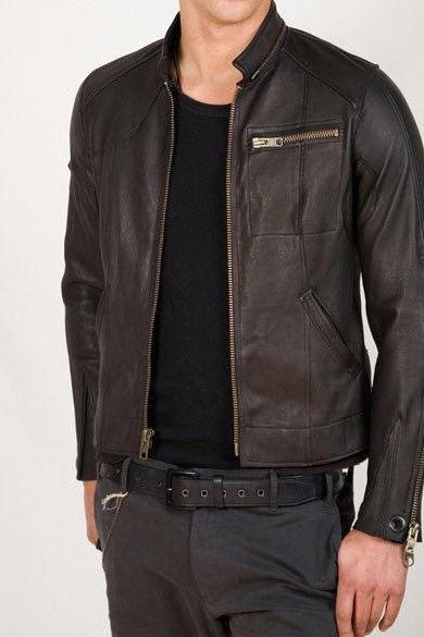 MEN'S SHORT LEATHER JACKET, BIKER LEATHER JACKET MENS