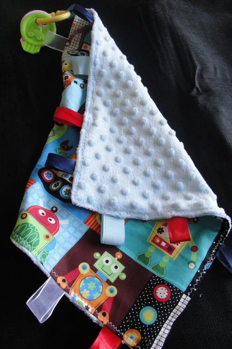 Blue robots lovey minky security blanket baby cotton fabric