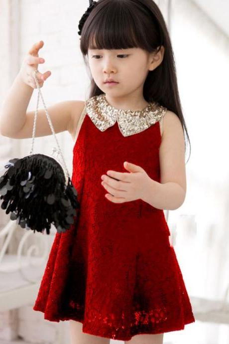 Black Dress for Little Girls with Golden Peter Pan Collar-Black Party Dress