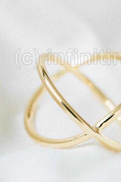 Gold Simple x cross ring,jewelry,Ring,bridesmaid ring,anniversary ring,engagement ring,bridesmaid gift,wedding ring,valentines day gift,womens jewelry,bridal gift,wedding jewelry,criss cross jewelry,x shape ring,statement ring,fashion ring,RN2614X