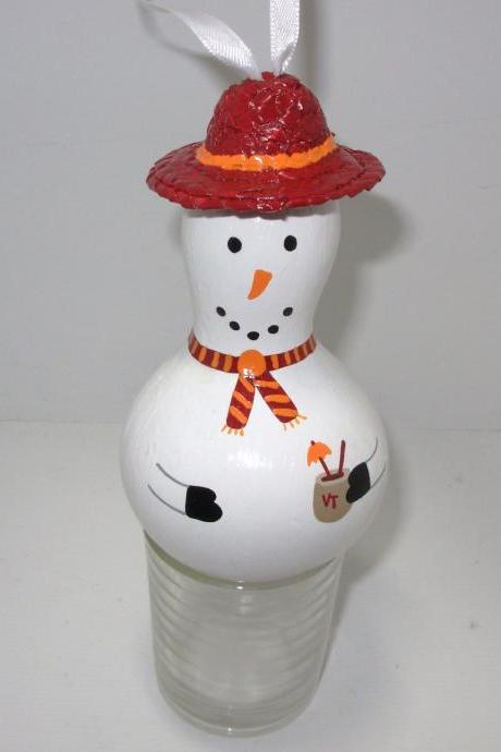Handpainted Va Tech Gourd Snowman Ornament