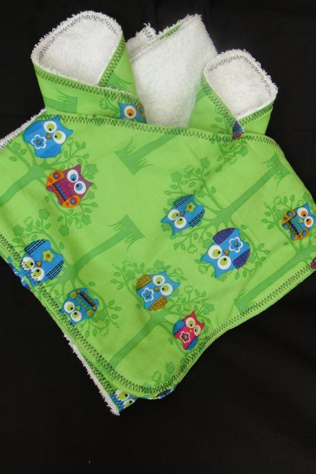 Hooded Towel Washcloth Set in Pink Green Owls