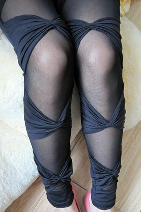See-through Bandages leggings Hollow out mesh bow