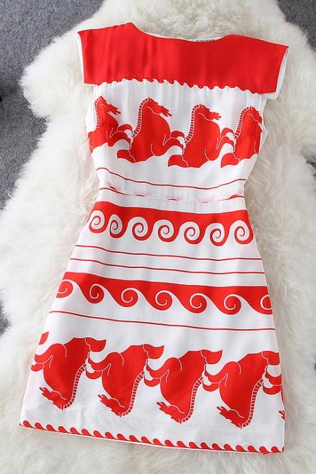 Printed sleeveless silk dress HT625AD