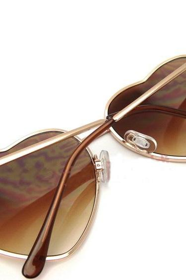 Metal Heart-Shaped Personalized Retro Sunglasses 091220