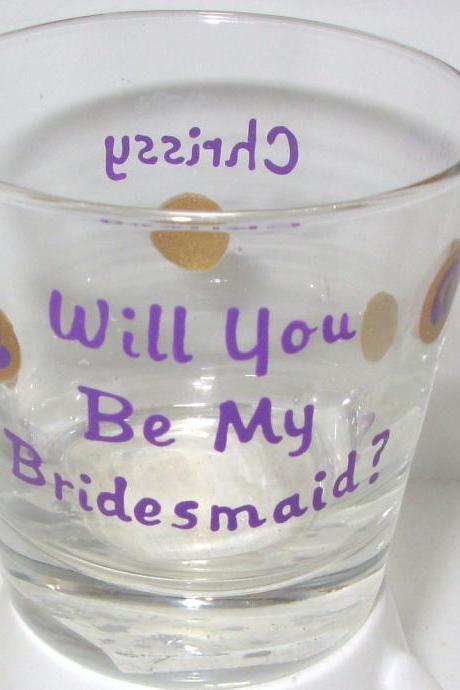 Bridesmaid Shot Glass Handpainted Personalized
