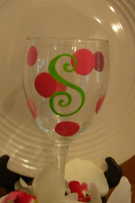 Initial Bridesmaid Wine Glass