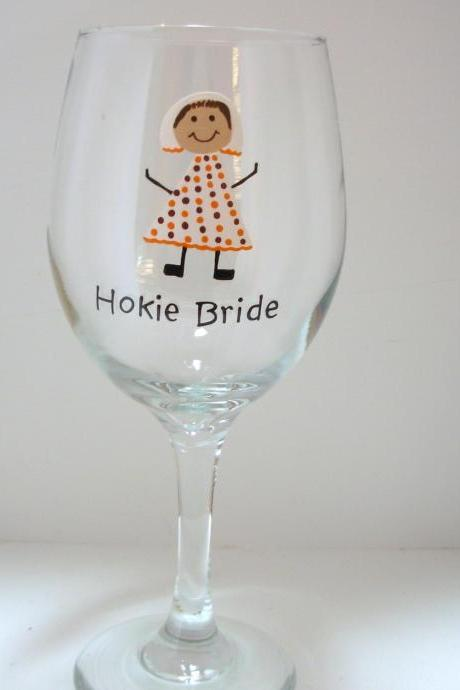 Hokie Bride Wine Glass Handpainted Personalized Over Sized