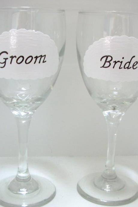 Bride and Groom Wine Glass Handpainted Personalized