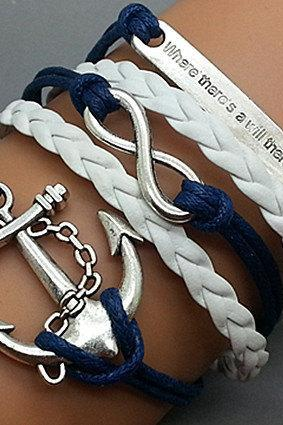 Anchor Bracelet Infinity Bracelet Motto Bracelet Antique Silver Star Cute Personalized Bracelet Best Friendship Gift Fashion Jewelry