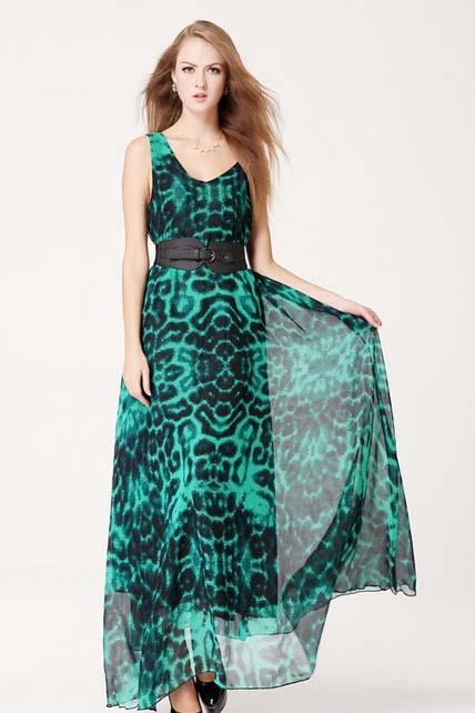 Fashion Glamorous Plunging V Neck Printed Dress with Belt - Green