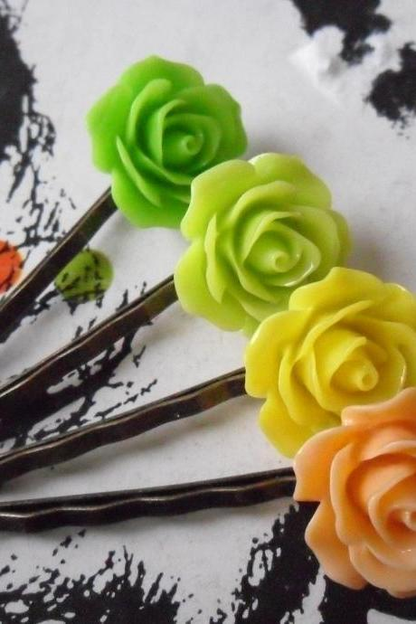 Citrus Coloured Vintage Rose Bobby Pins - bronze hair clips slides pins grips green rose