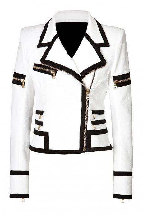 WOMEN'S BIKER LEATHER JACKET, WHITE WOMEN JACKET
