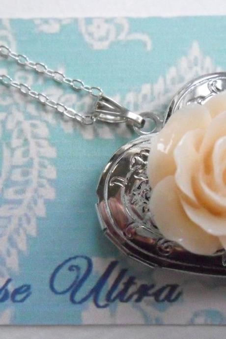Peaches and Cream Vintage Rose Heart Silver Locket