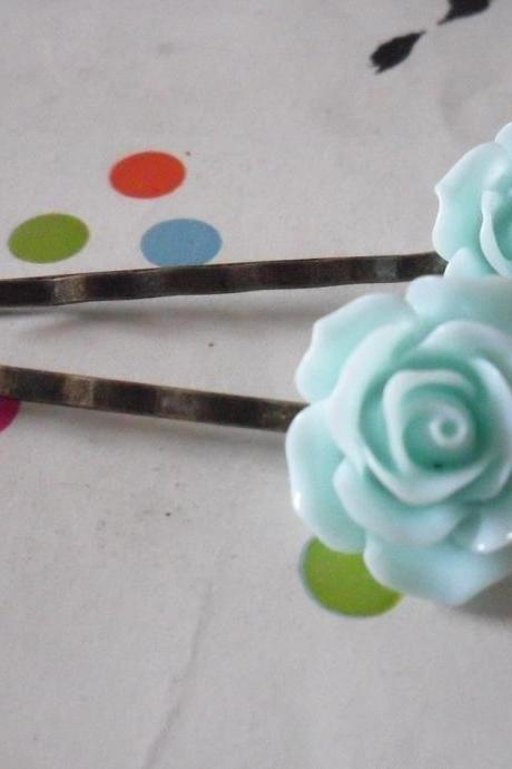 A Pair of Light Aquamarine Blue Vintage Rose Bronze Bobby Pins - hair clips slides pins flower
