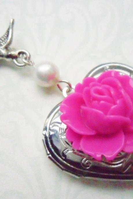 Silver Swallow Locket with Pearl and Hot Pink Vintage Flower Cabochon