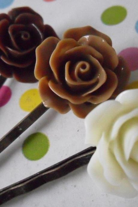 Triple Chocolate Vintage Rose Bobby Pins - bronze hair clips slides pins grips brown cream rose