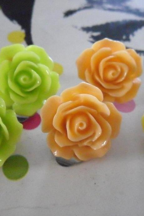 Citrus Fruits Vintage Resin Rose CLIP ON earrings FLOWER clip-ons set green yellow orange