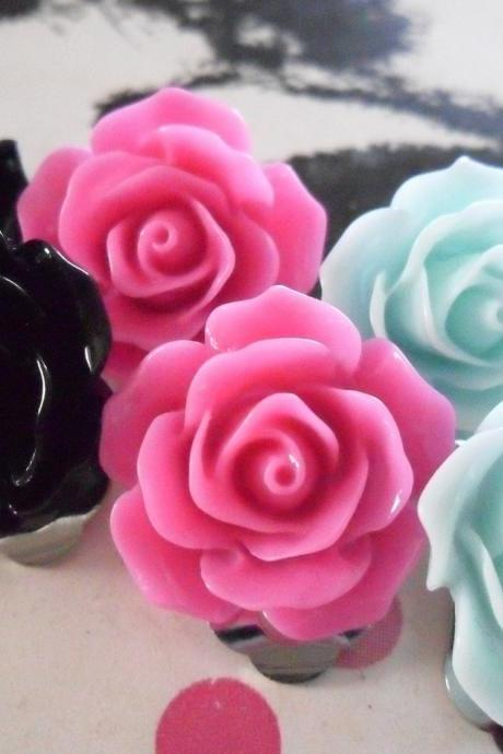 Black Aqua and Pink Vintage Resin Rose CLIP ON earrings FLOWER clip-ons set