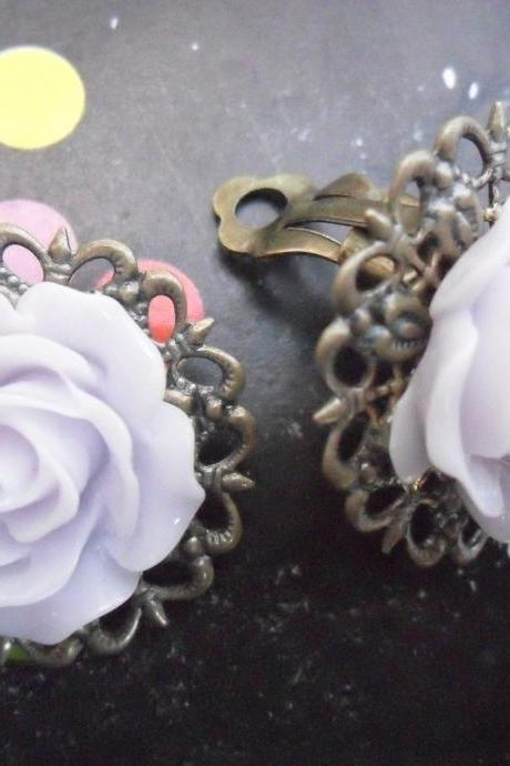 CLIP ON Lavender Mist Filigree Lace Vintage Resin Rose Earrings Flower clip-ons ear clips non pierced