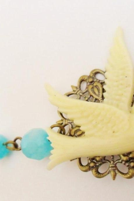 Swallow Necklace , Bird Necklace, Cream with Aqua Blue Jade and Antique Bronze - Rockabilly Retro Pin up Tattoo Vintage Burlesque Style