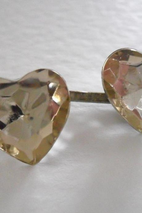 A Pair of Champagne Vintage Jewel Heart Bobby Pins