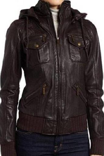 HANDMADE WOMENS NEW FASHION JACKET, WOMEN HOODED LEATHER JACKET, WOMEN'S JACKET