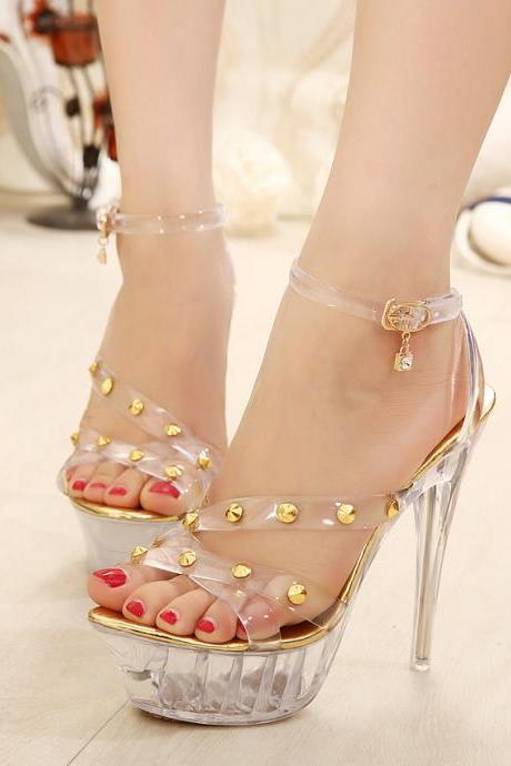 South Korea's new 14 cm high with transparent crystal sandals Fine with waterproof Roman bind rivet women sandals