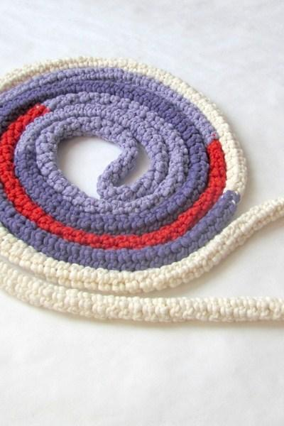 Skinny scarf Cream, purple, lilac and red - Crochet jewelry - extra long necklace - block colors - Poppy and lavender field Listing Stats