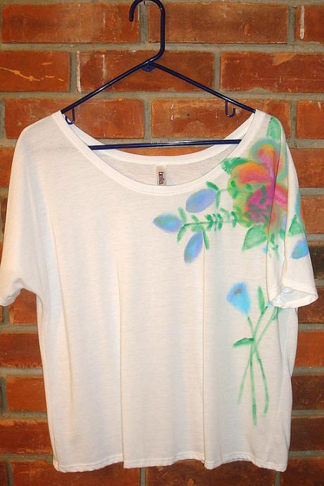 Abstract Floral Hand Painted Women's Top