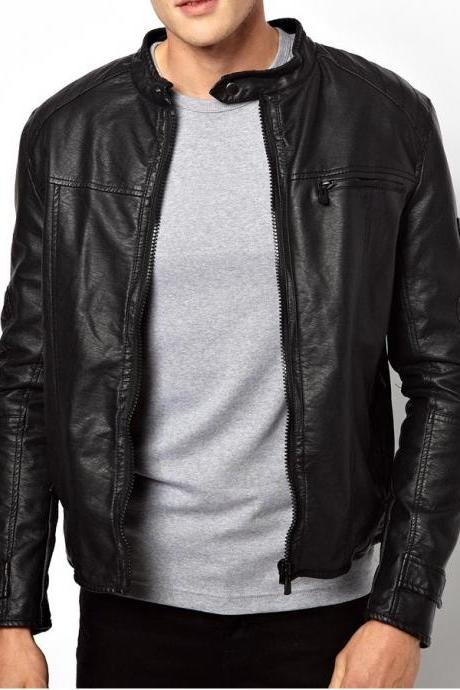 MEN'S BIKER LEATHER JACKET, BLACK LEATHER JACKET MENS