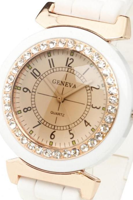 FASHION NEW GENEVA DIAMANTE DIAL Nice Sport Women Watch Bangle Quartz Clock