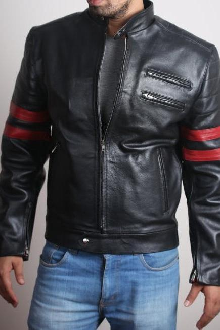 Men's Stylish Retro Leather Jacket with Red Stripes. Available in All Sizes