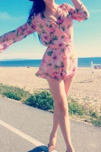 Floral Print Long Sleeve Low-Cut V Neck Shorts Jumpsuit