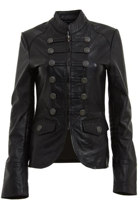 Women's Military Style Embellished Leather Jacket