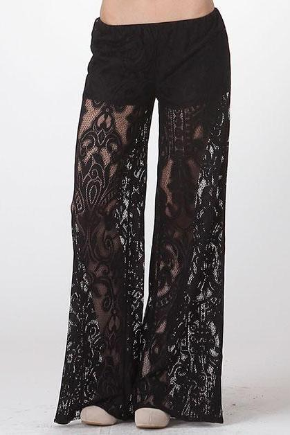 Elegant Black Floral Lace Wide Mesh Leg Lined Stretch Waist Palazzo Pants