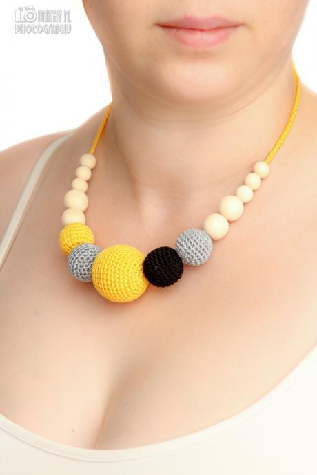 Summer fashion - breastfeeding necklace nursing statement jewelry strand necklace - grey yellow black