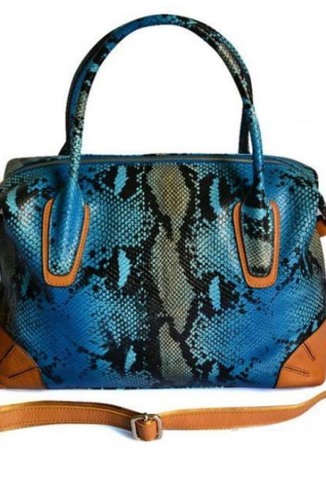 Genuine Cowhide Leather Embossed Snake Pattern Blue
