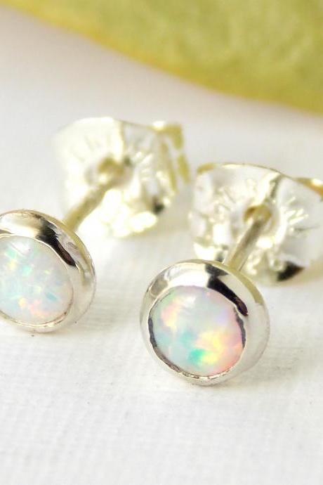 Opal Stud Earrings- opal earrings, October birthstone, post earrings, simple earrings, stud earrings, dainty earrings, small earrings