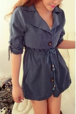 Turndown Collar Long Sleeve Single Breasted Blue Trench