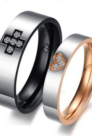 Couple Promise Ring Band set for Him & Her - Anniversary - Engagement - Wedding - Lover's Gift (sizes avail from 5, 6, 7, 8, 9, 10)